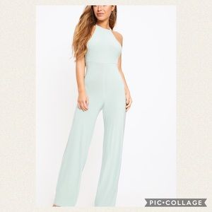 Petite Sage Green Tie Back Strappy Jumpsuit